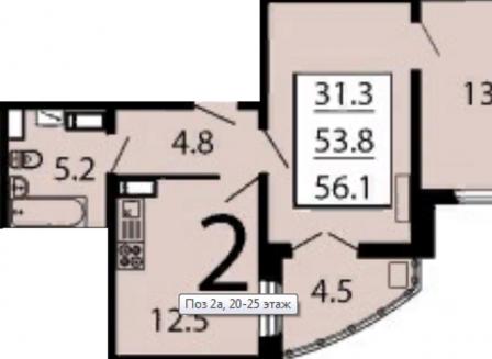 2-комнатная квартира, 56.10-Кв.м.