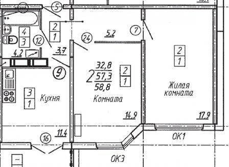 2-комнатная квартира, 58.80-Кв.м.
