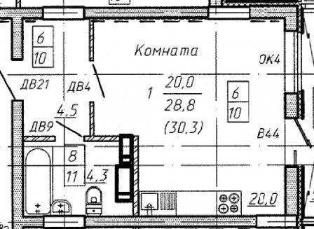 1-комнатная квартира, 30.30-Кв.м.