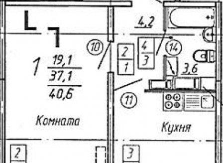 1-комнатная квартира, 40.60-Кв.м.