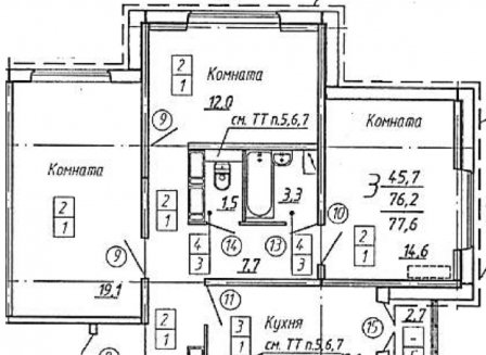 3-комнатная квартира, 77.60-Кв.м.