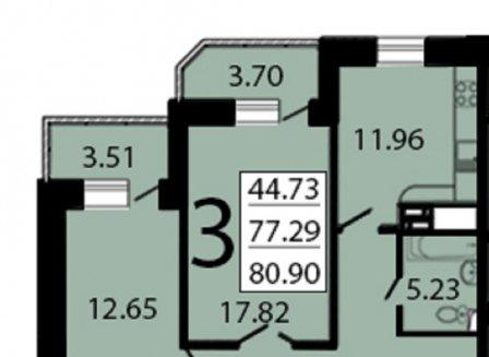 3-комнатная квартира, 81.94-Кв.м.
