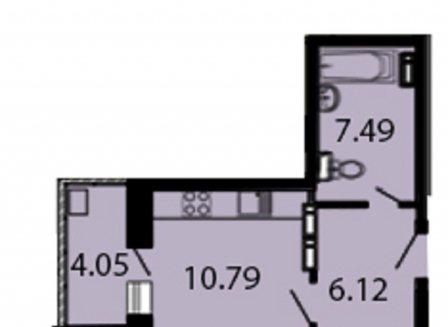 1-комнатная квартира, 48.24-Кв.м.