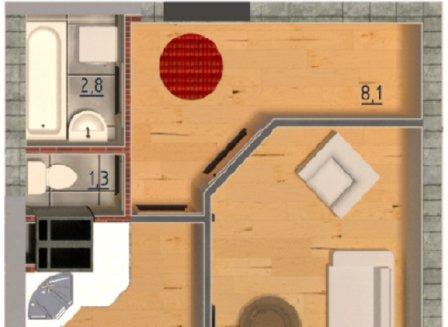 1-комнатная квартира, 42.13-Кв.м.
