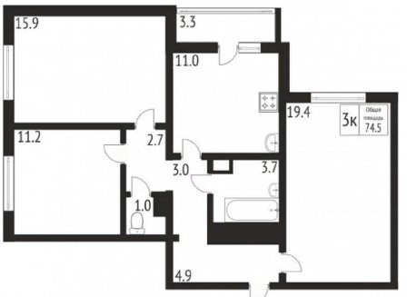 3-комнатная квартира, 74.50-Кв.м.