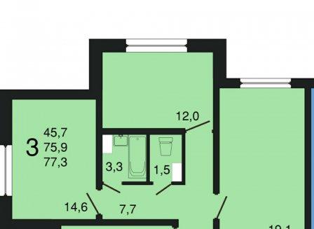 3-комнатная квартира, 77.30-Кв.м.
