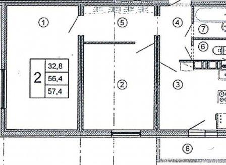2-комнатная квартира, 57.40-Кв.м.