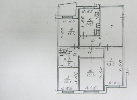 4-комнатная квартира, 101.00-Кв.м.
