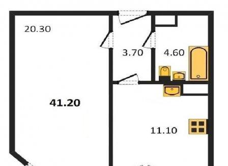1-комнатная квартира, 41.20-Кв.м.