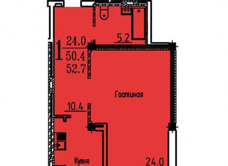 1-комнатная квартира, 53.00-Кв.м.