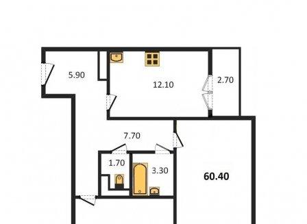 2-комнатная квартира, 60.40-Кв.м.