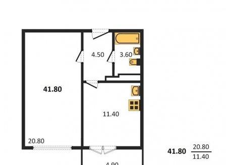 1-комнатная квартира, 41.80-Кв.м.