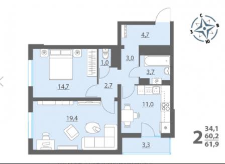 2-комнатная квартира, 61.90-Кв.м.