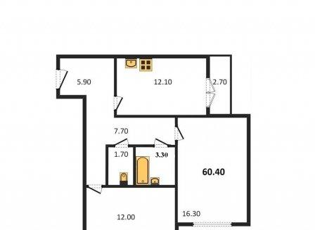 2-комнатная квартира, 60.10-Кв.м.
