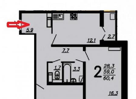2-комнатная квартира, 59.80-Кв.м.