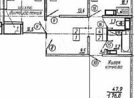 3-комнатная квартира, 77.40-Кв.м.