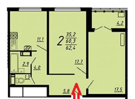 2-комнатная квартира, 62.20-Кв.м.