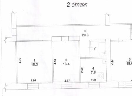3-комнатная квартира, 85.20-Кв.м.
