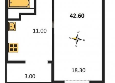 1-комнатная квартира, 42.60-Кв.м.