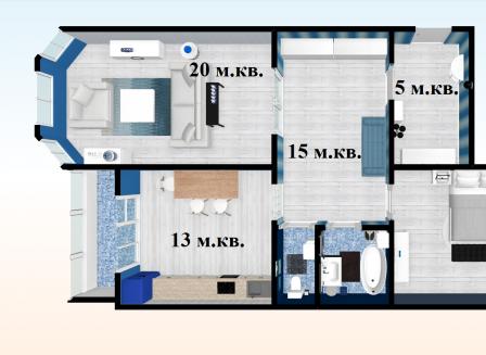 2-комнатная квартира, 69.70-Кв.м.