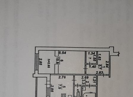 1-комнатная квартира, 38.40-Кв.м.