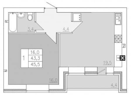 1-комнатная квартира, 45.50-Кв.м.