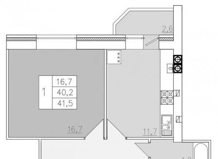 1-комнатная квартира, 41.50-Кв.м.