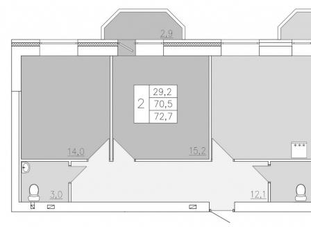 2-комнатная квартира, 72.70-Кв.м.