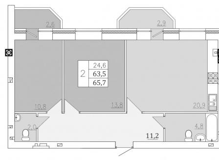 2-комнатная квартира, 65.70-Кв.м.