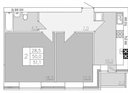 2-комнатная квартира, 51.10-Кв.м.