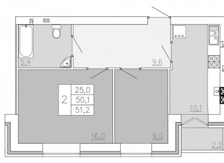 2-комнатная квартира, 51.20-Кв.м.