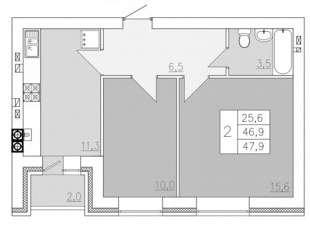 2-комнатная квартира, 47.90-Кв.м.