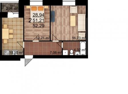 2-комнатная квартира, 52.30-Кв.м.