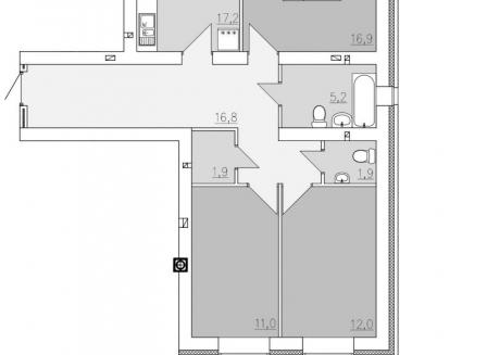 3-комнатная квартира, 84.70-Кв.м.