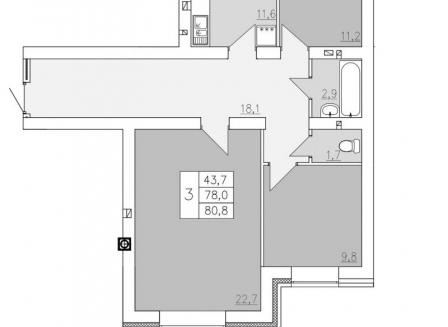 3-комнатная квартира, 80.80-Кв.м.