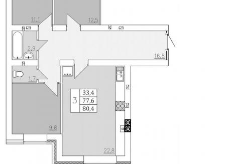 3-комнатная квартира, 80.40-Кв.м.