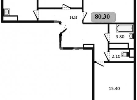 3-комнатная квартира, 80.30-Кв.м.