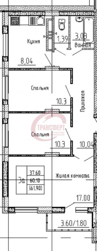 3-комнатная квартира, 61.90-Кв.м.