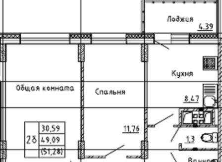2-комнатная квартира, 51.28-Кв.м.
