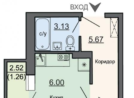 1-комнатная квартира, 30.96-Кв.м.
