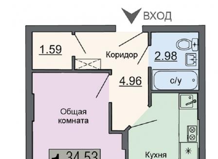 1-комнатная квартира, 35.59-Кв.м.