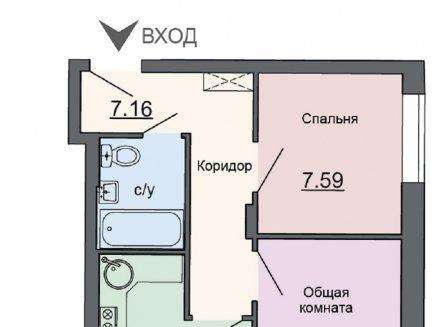 2-комнатная квартира, 44.15-Кв.м.