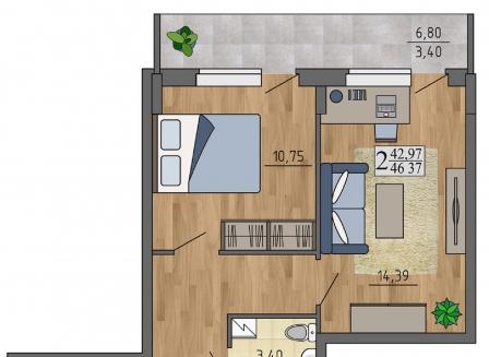 2-комнатная квартира, 46.37-Кв.м.