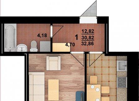 1-комнатная квартира, 32.86-Кв.м.