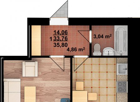 1-комнатная квартира, 35.80-Кв.м.