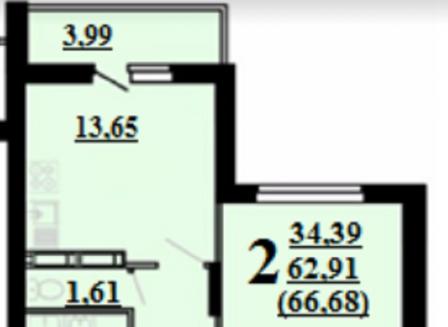 2-комнатная квартира, 66.68-Кв.м.
