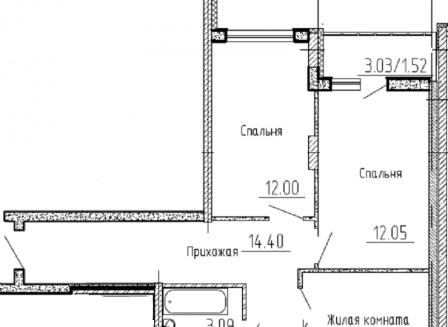 3-комнатная квартира, 74.14-Кв.м.