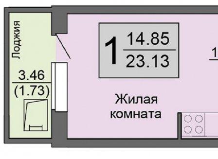 1-комнатная квартира, 23.13-Кв.м.