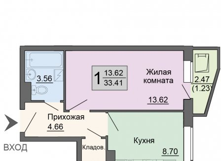 1-комнатная квартира, 33.41-Кв.м.