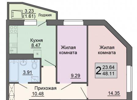 2-комнатная квартира, 48.11-Кв.м.